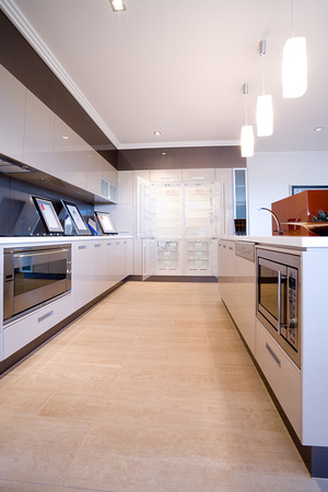 kitchen with superimposed open fridge