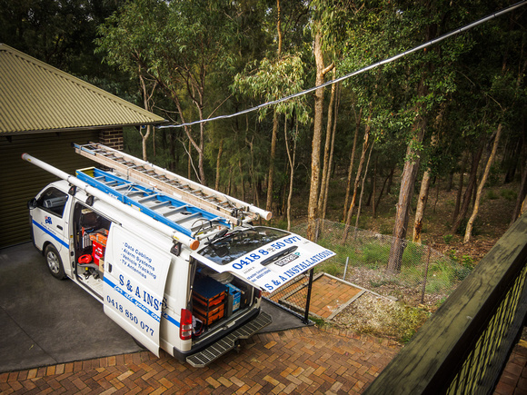 S&A Installations van & cable from verandah