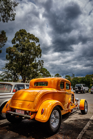 3001 - octane '32  Ford coupe from back right with storm clouds