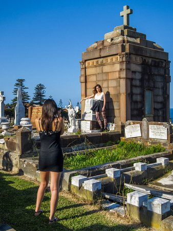 Photographer and model Waverley Cemetery, Bronte NSW